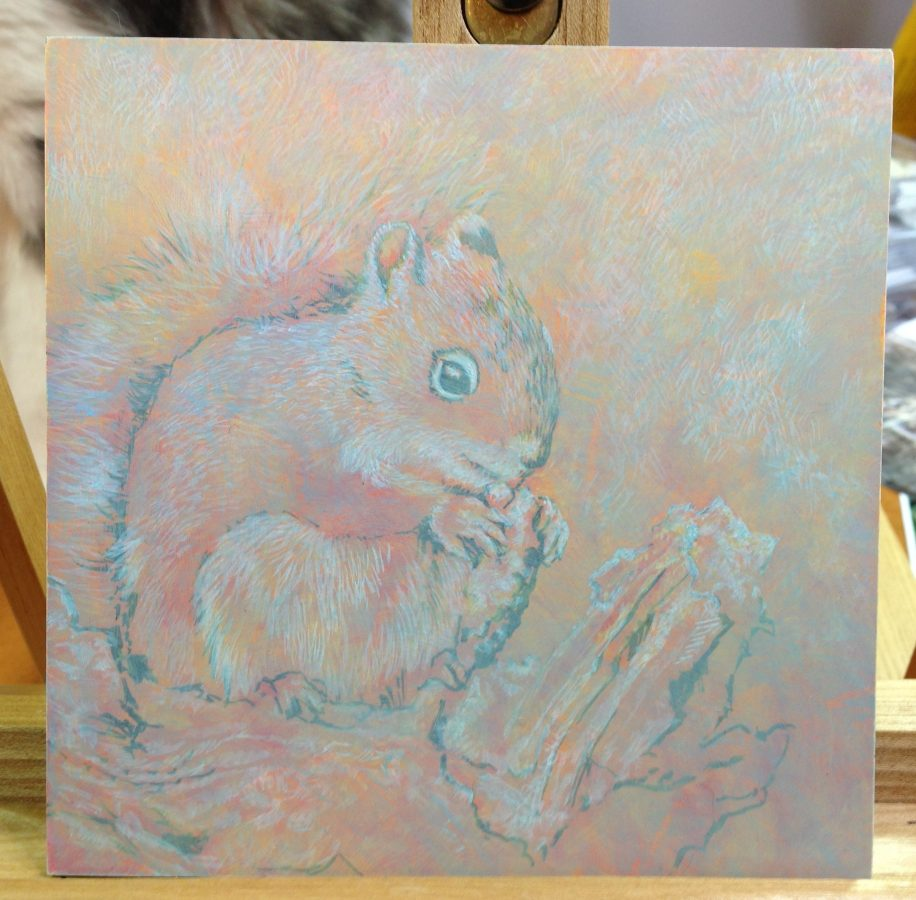 squirrel, egg tempera, oil, Mische